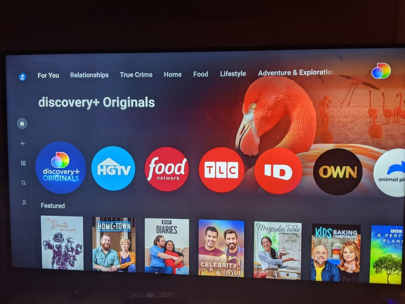 The main menu of discovery+ streaming service