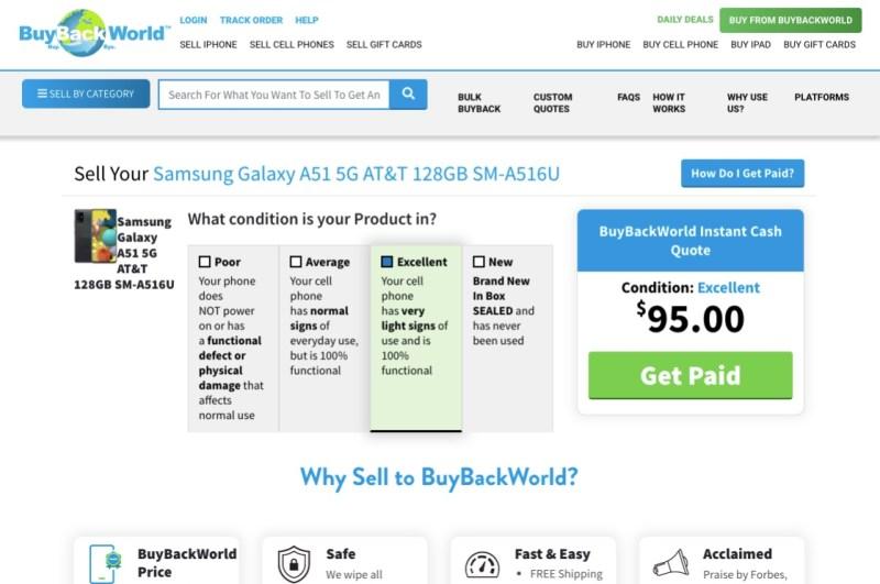 BuyBackWorld offer on a Samsung Galaxy