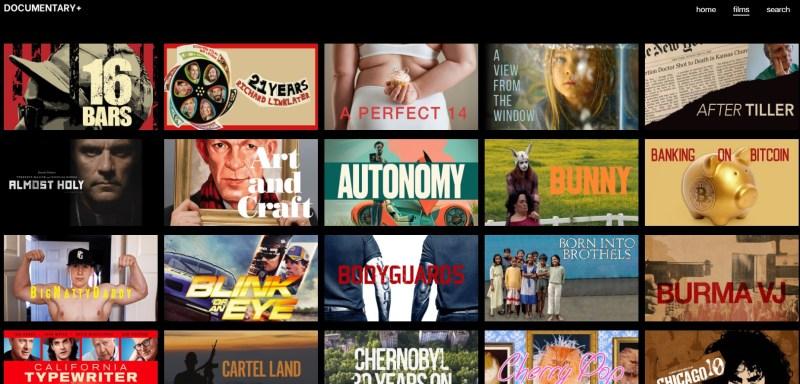 Documentary+ has a tile menu.