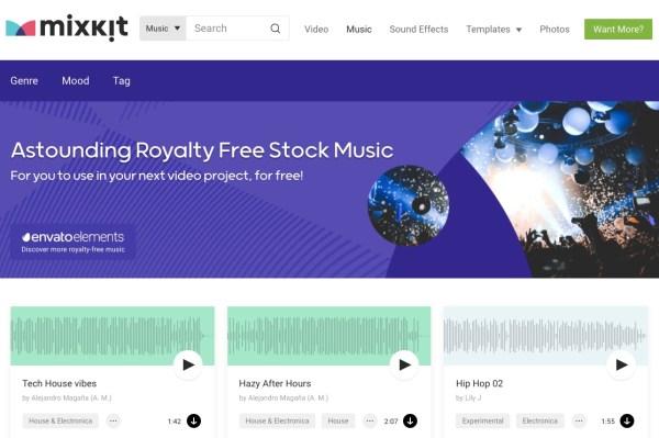 Mixkit royalty-free music website screenshot