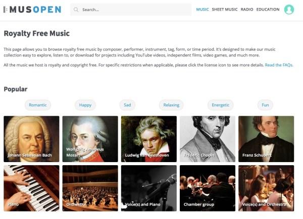 Musopen royalty-free music website screenshot