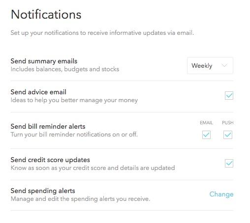 Mint.com notifications
