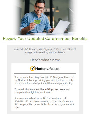 Fidelity emailed credit card members new benefit information.