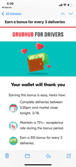 Grubhub bonus pay