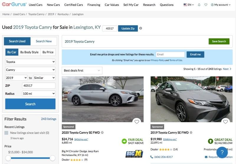 Shopping for a car on CarGurus