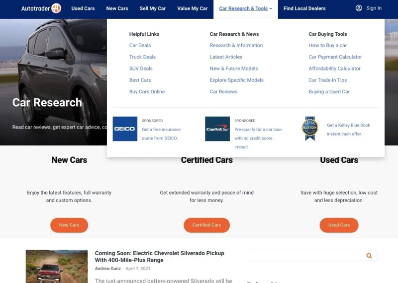 Research tools available on Autotrader
