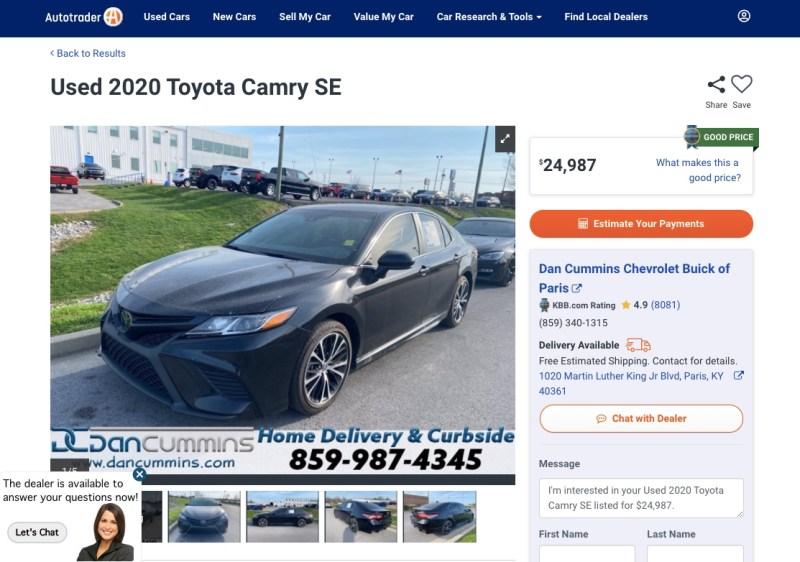 Car details including dealership information