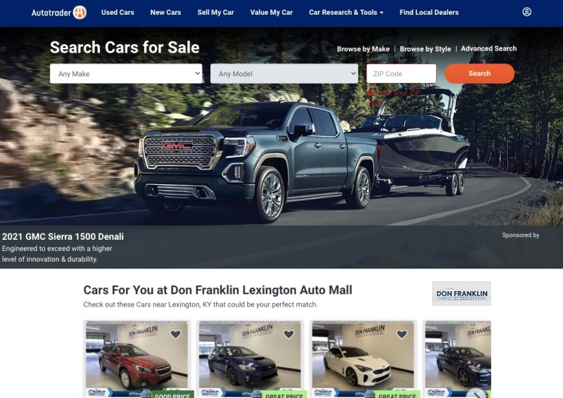 Autotrader's website homepage