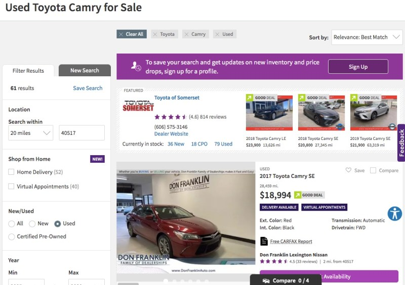 Cars.com search results for a Toyota Camry