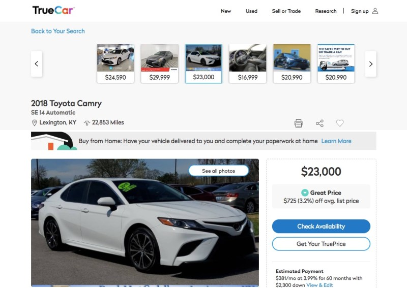 Toyota Camry details on TrueCar.com