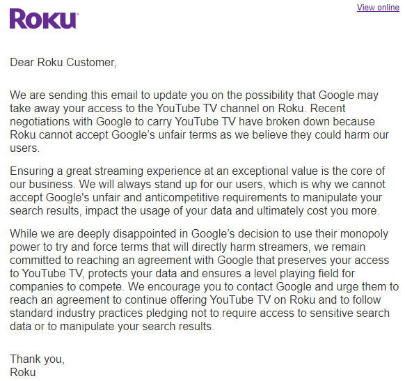 Roku's Letter to Users Regarding YouTube TV
