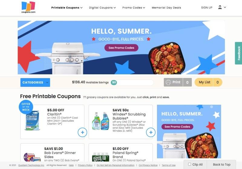 Printable coupons at Coupons.com