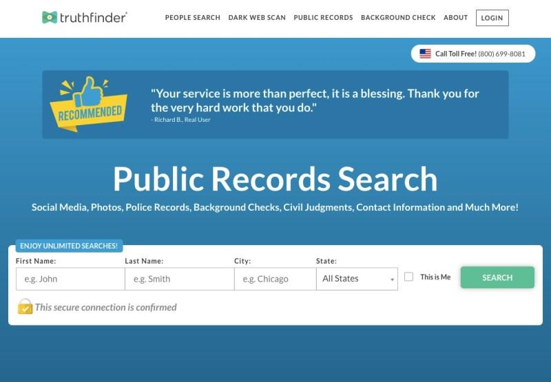 TruthFinder background check service
