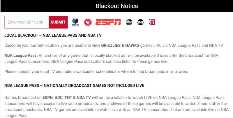 NBA League Pass blackout notice