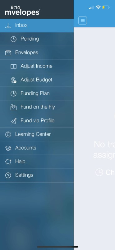 Mvelopes' app menu