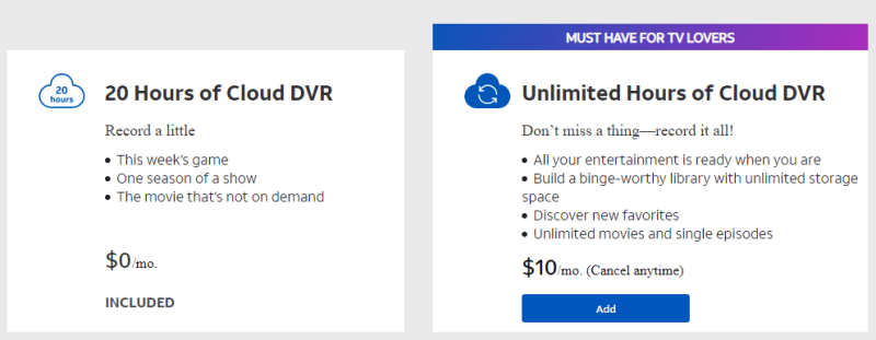 AT&T TV cloud DVR policy