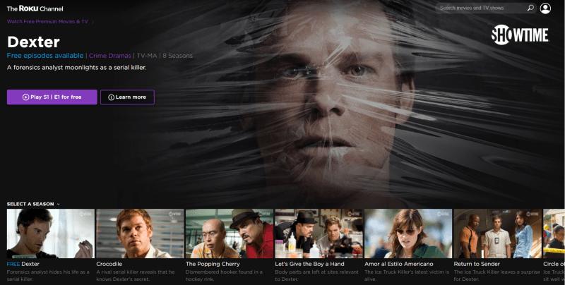 The Roku Channel menu