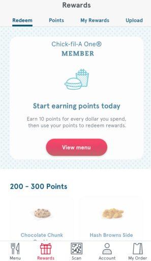 Chick-fil-A app rewards