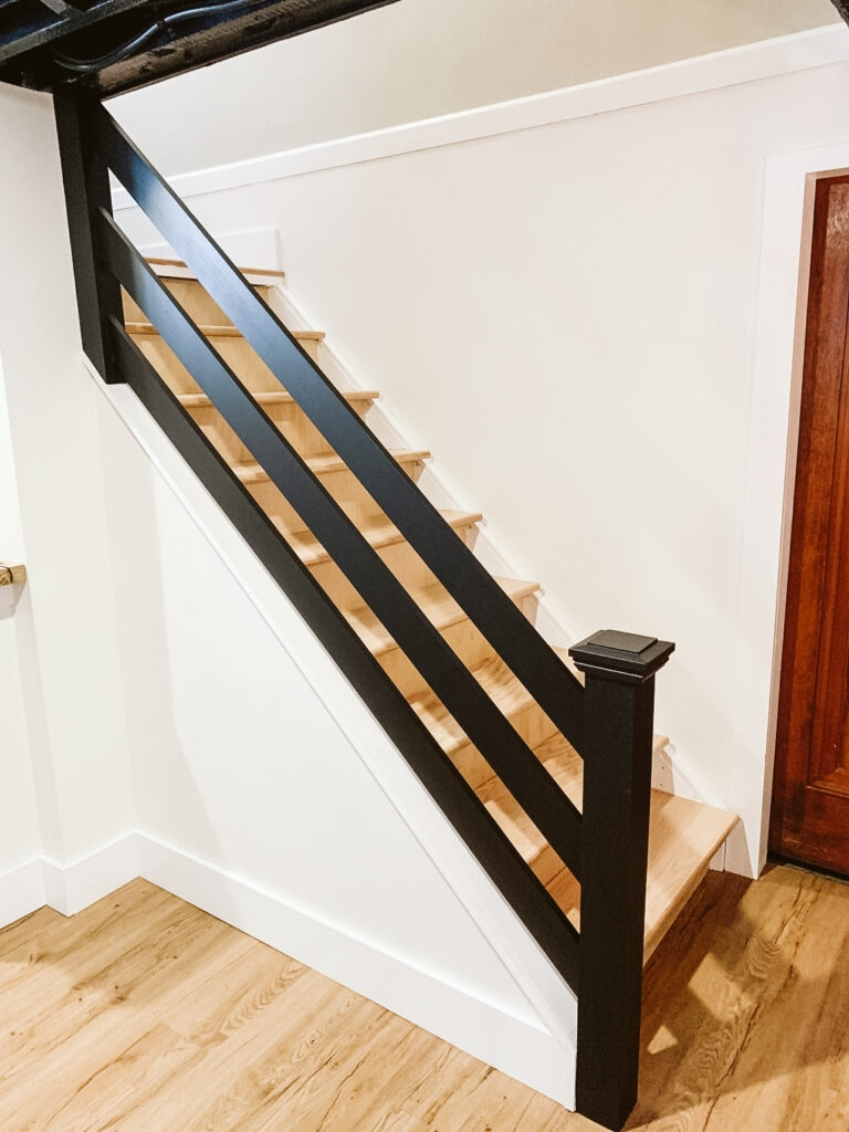 How To Build A Modern Horizontal Railing Clark Aldine | Wooden Banisters And Railings | Stairwell | Small | Industrial | Balcony | Dark Walnut
