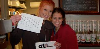 Downtown Camas Brittany and Holly with one of the clues 2018