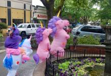Unicorns in Downtown Camas for June First Friday 2019
