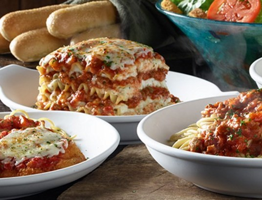 Olive Garden: Enjoy buy one, get one FREE entrées
