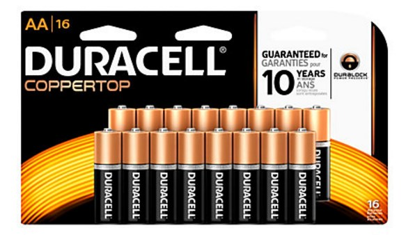 16-pack Duracell Coppertop Alkaline AAA or AA batteries for $.01 after rewards