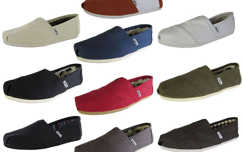 Men's classic TOMS canvas slip on shoes for $20, free shipping