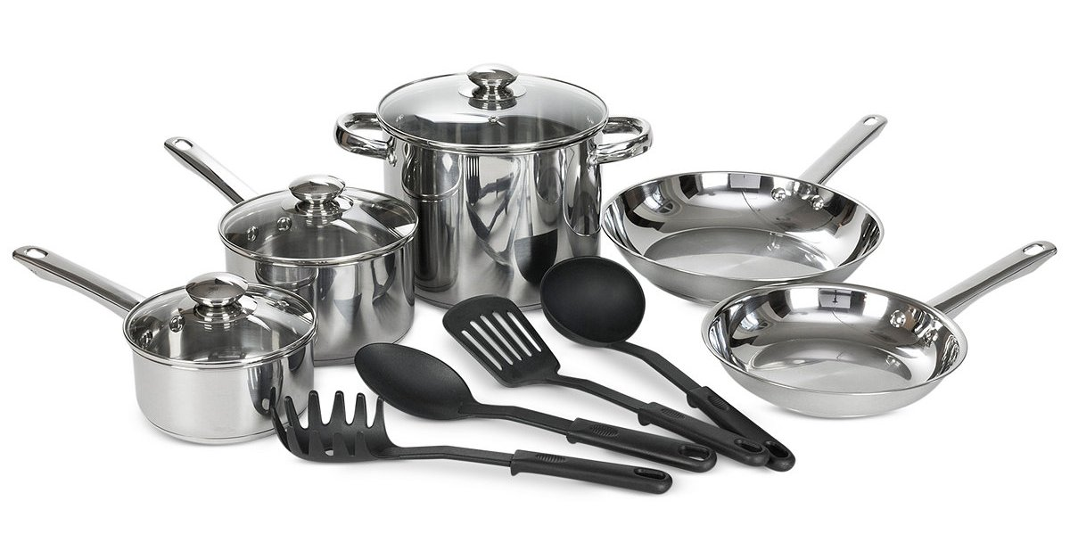 Price drop! Bella stainless steel 12-piece cookware set for $15