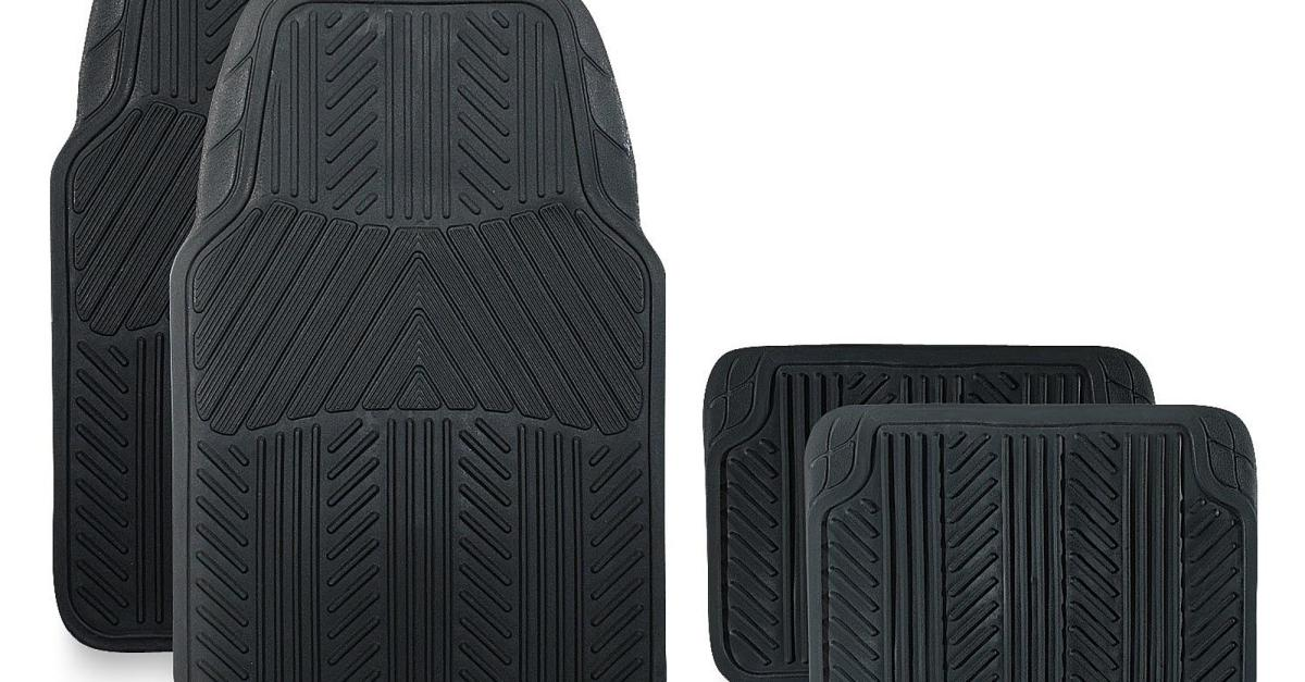 Pilot Automotive 4-piece rubber floor mat set for $9
