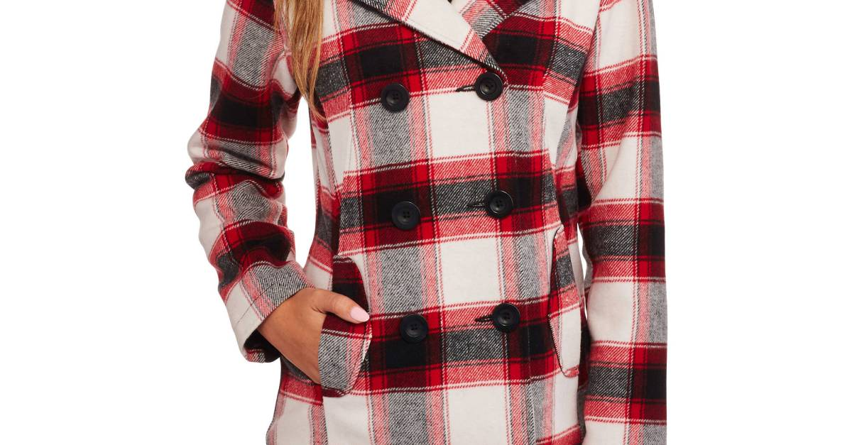 ec016b63ca Faded Glory women s double-breasted faux wool peacoat with hood for ...
