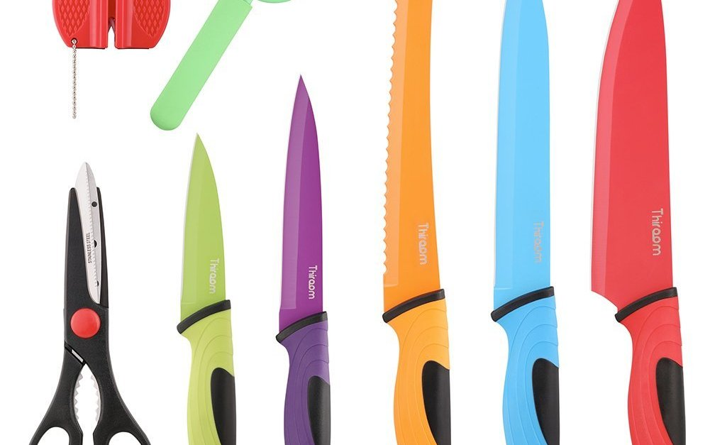 Thiroom 8-piece professional colorful chef knife set for $12.31
