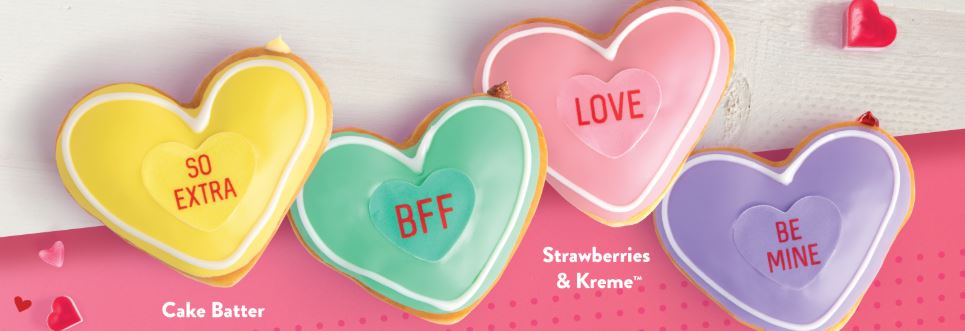 Get a FREE Valentine's doughnut for rewards members with purchase at Krispy Kreme!