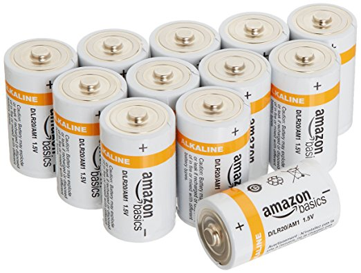 12-pack AmazonBasics D alkaline batteries for $5