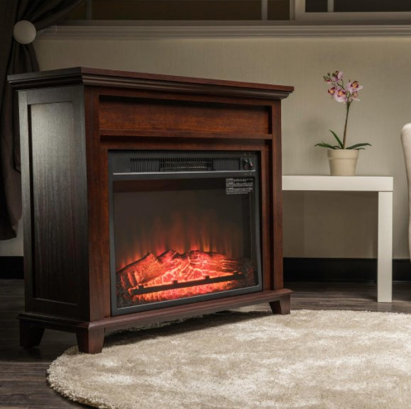 32-inch freestanding electric fireplace heater with tempered glass and log for $99.99