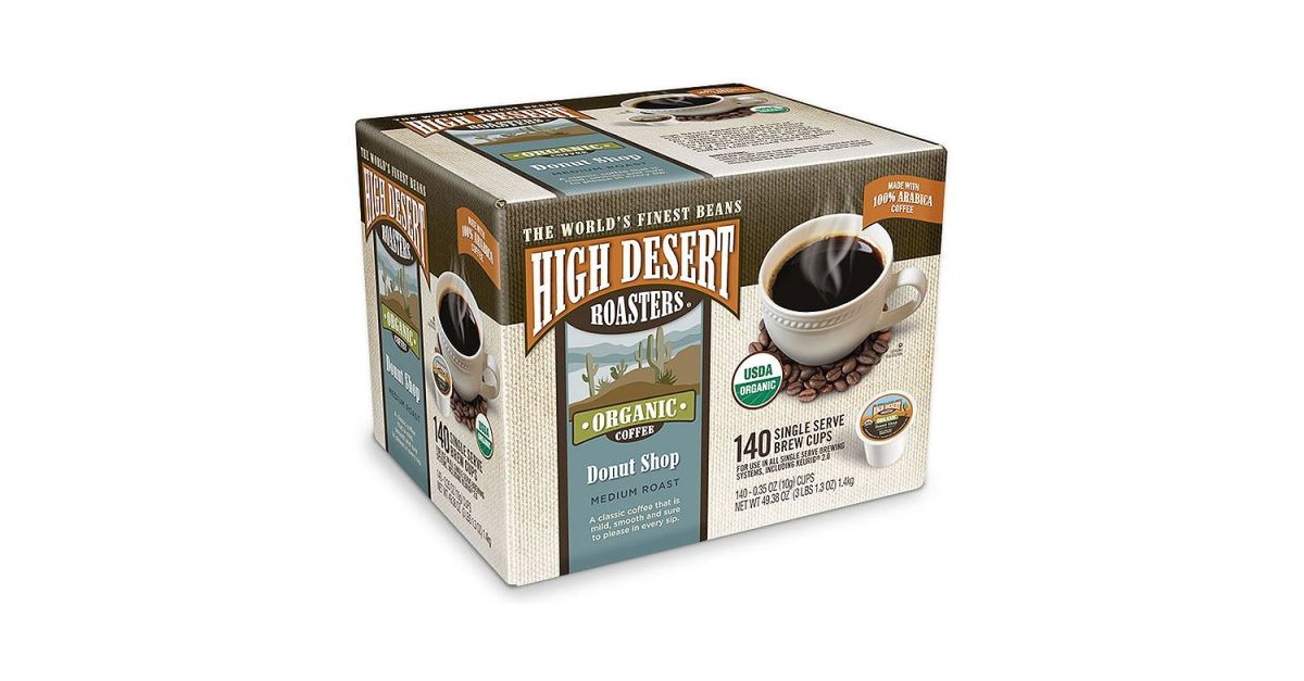 140-count High Desert Roasters donut shop coffee K-cups for $33