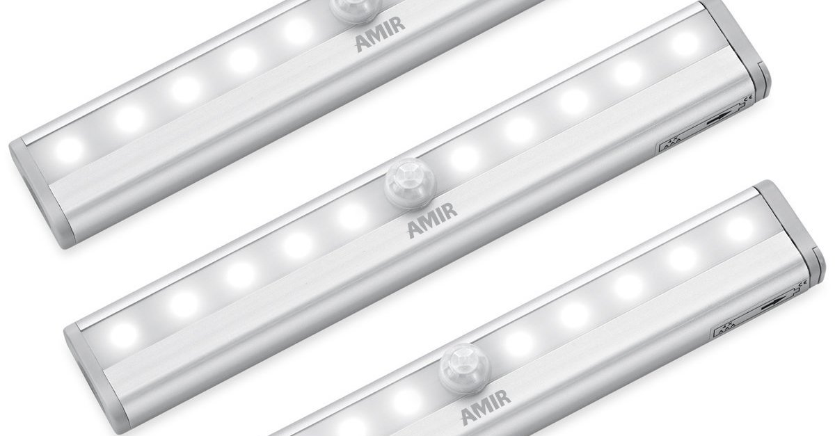 3-pack Amir 10 LED motion sensing closet lights for $13