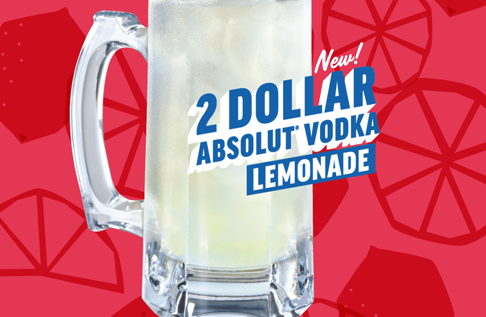 Ends soon! Get $2 Absolut Vodka lemonade this month at Applebee's
