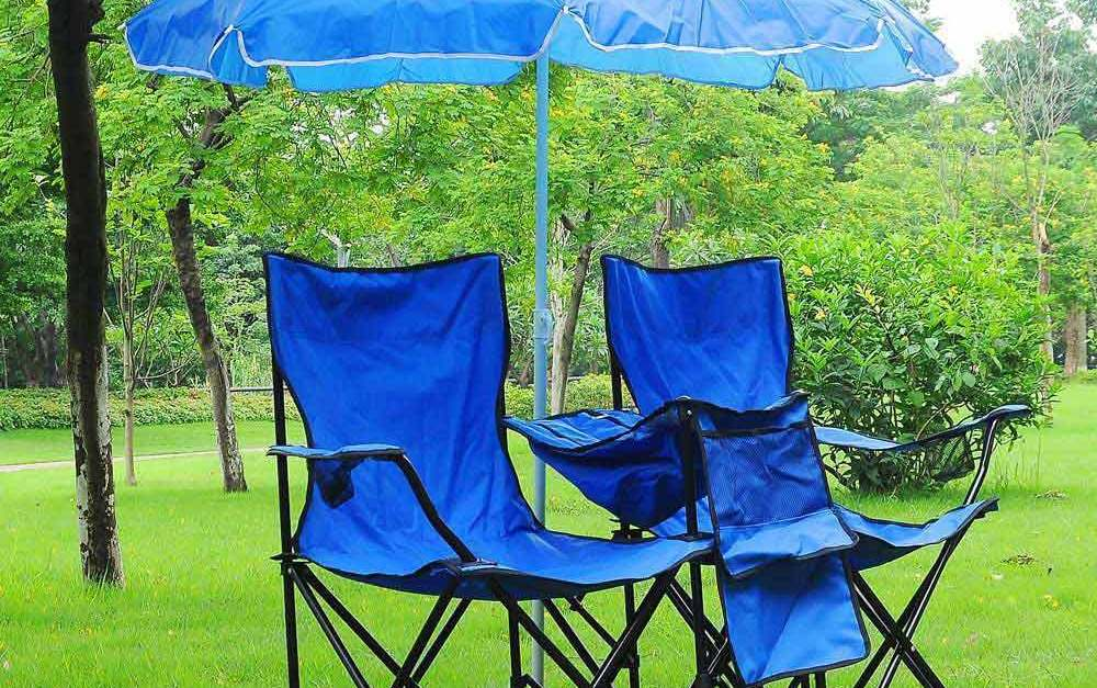 Portable folding picnic double chair with umbrella & cooler bag for $30