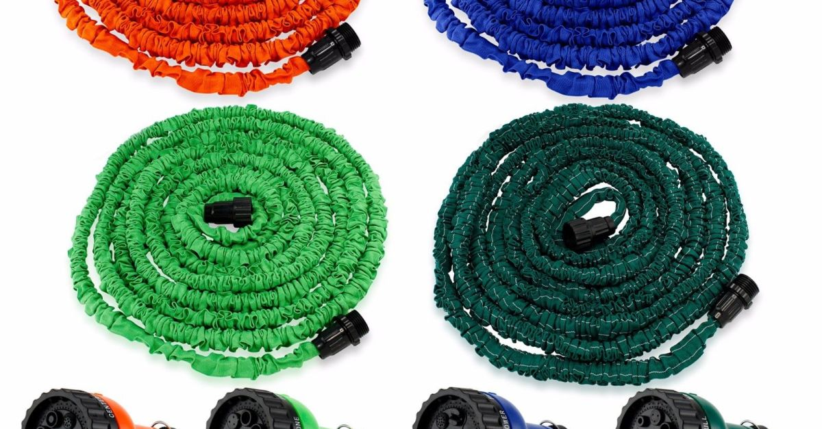 Expandable flexible garden water hose with spray nozzle from $5