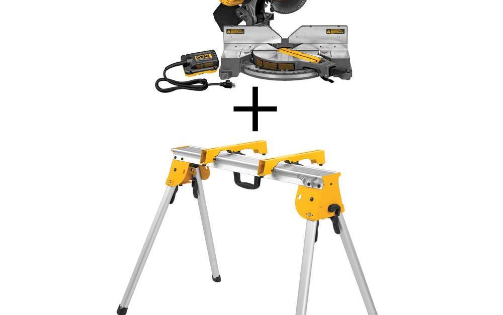 Dewalt Flexvolt 120-volt max lithium-ion cordless brushless 12-in. miter saw and bonus stand for $299