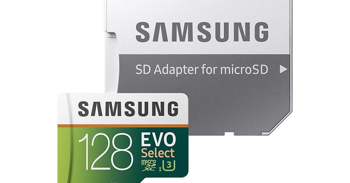 128GB Samsung EVO Select UHS-I U3 microSD memory card for $23