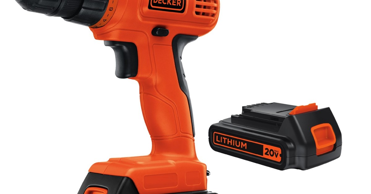 Black+Decker 20V max lithium ion cordless drill with 2 batteries for $40