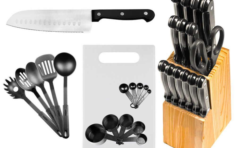 29-piece stainless steel kitchen knife set with wood block for $20, free shipping