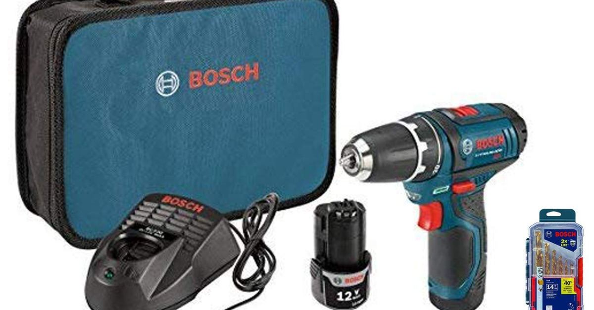 Today only: Bosch 12V max lithium-ion 3/8-inch 2-speed drill kit with drill bit set for $100