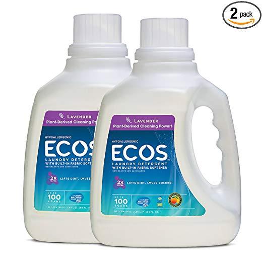 100-oz Ecos lavender liquid laundry detergent 2-pack for $10