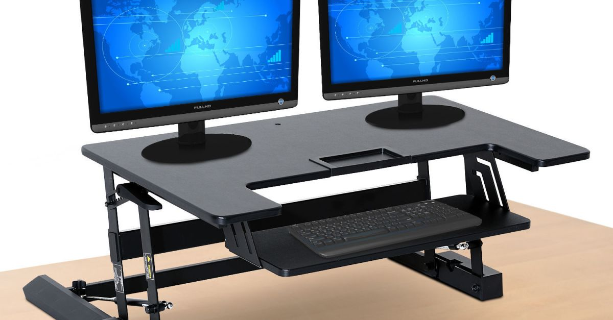 37″ ergonomic height-adjustable sit stand desk for $130