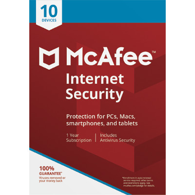 McAfee Internet Security software for $10 after mail-in rebate