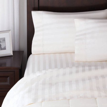 100% cotton damask stripe queen & king sheet sets $11 or less