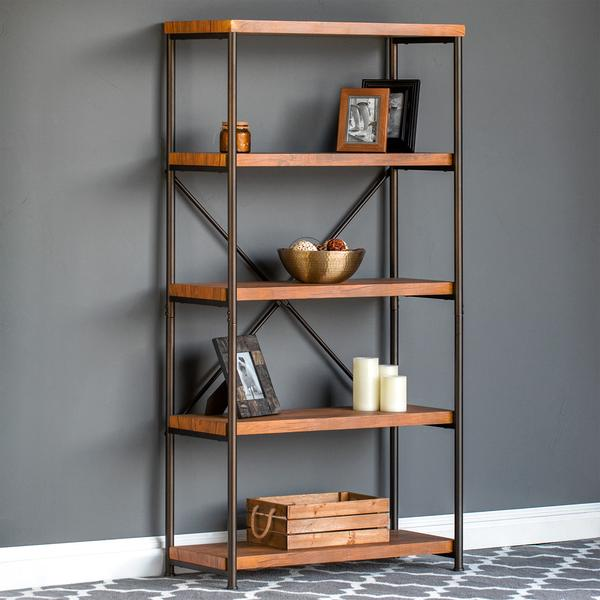 4-tier bookshelf with metal frame for $80